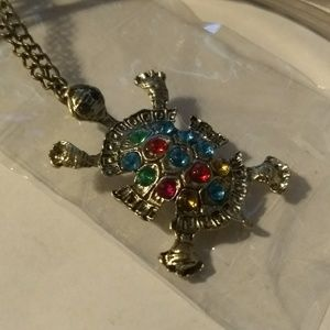 TURTLE NECKLACE - Rhinestone Jewelry - Cute